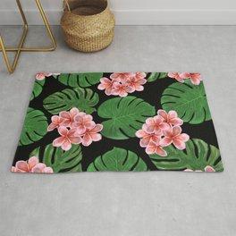 Tropical Floral Print Black Rug