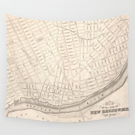 Vintage Map of New Brunswick NJ (1837) Wall Tapestry