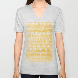 Loose bohemian pattern - yellow Unisex V-Neck