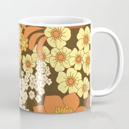 Brown, Yellow, Orange & Ivory Retro Flowers Coffee Mug
