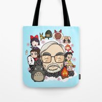 hayao miyazaki Tote Bags featuring Ghibli, Hayao Miyazaki and friends by KickPunch