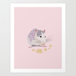 mouse eat cheese Art Print