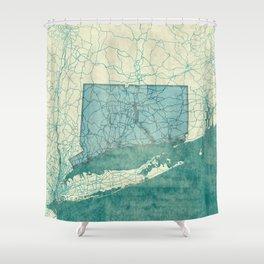 Connecticut State Map Blue Vintage Shower Curtain