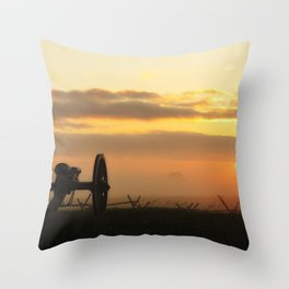 Sunrise on a foggy Battlefield Throw Pillow