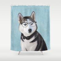 husky Shower Curtains featuring Mr Husky by Roberta Jean Pharelli