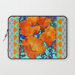 TURQUOISE PATTERN CALIFORNIA POPPIES ART Laptop Sleeve