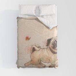 The Furminator pug watercolor like art Comforters