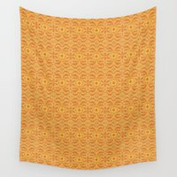 rose gold Wall Tapestries featuring GOLD FLORAL ABSTRACT by SHI Designs