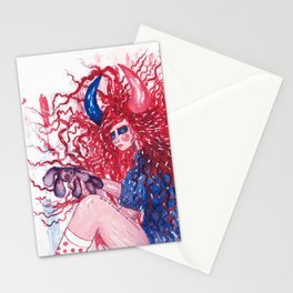 Red hair girl holding a bad bunny Stationery Cards