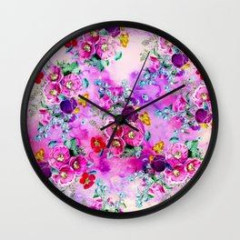 Spring vintage floral pink purple bouquet on pink purple watercolor Wall Clock