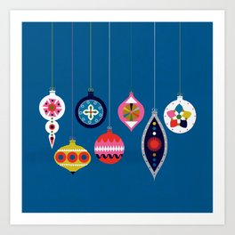 Retro Christmas Baubles on a dark background Art Print