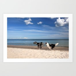 Playing dogs at the beach Art Print
