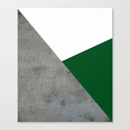 Concrete Festive Green White Canvas Print