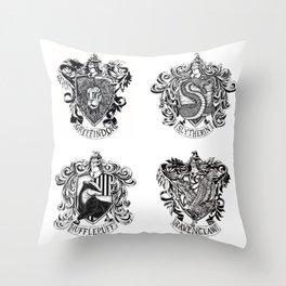Hogwart House Crests Throw Pillow