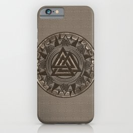 Valknut Symbol - Beige Leather and gold iPhone Case