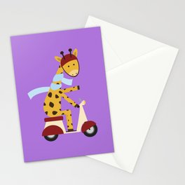 Giraffe on Motor Scooter Stationery Cards