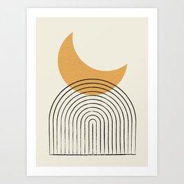 Moon mountain gold - Mid century style Art Print
