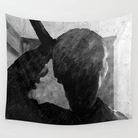 psycho Wall Tapestries featuring Psycho shower curtain by Paul Kimble