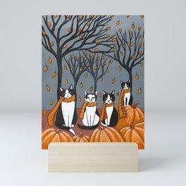 Tuxedo Cats and Pumpkins Mini Art Print