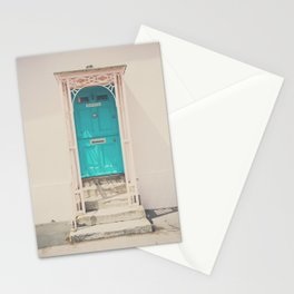 mint green door in a pink building  Stationery Cards