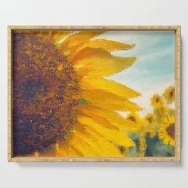 Sunflower Field In Late Summer Serving Tray