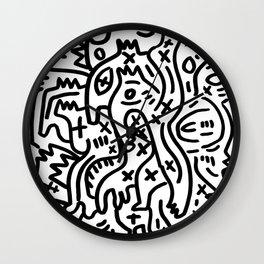 Graffiti Street Art Black and White Wall Clock