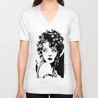 bow V-neck T-shirts featuring Clara Bow by Claire Nelson-Esch