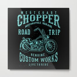 Retro Motorcycle Chopper Typography Metal Print