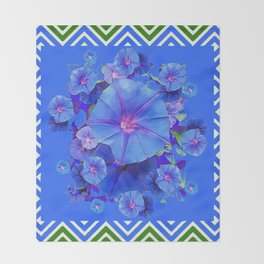 Baby Blue Morning Glories Green Floral Art Throw Blanket