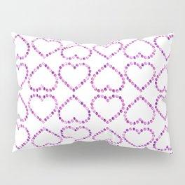 Romantic pink lilac glitter valentine hearts pattern Pillow Sham