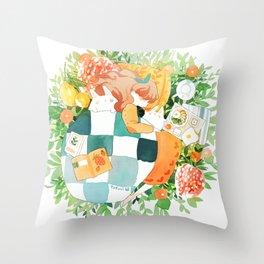 springtime snooze. Throw Pillow