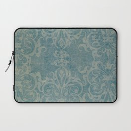Antique rustic teal damask fabric Laptop Sleeve