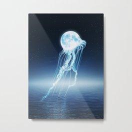 Lunar Jellyfish Connection Metal Print