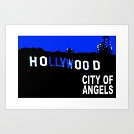 Hollywood Sign at Night Art Print