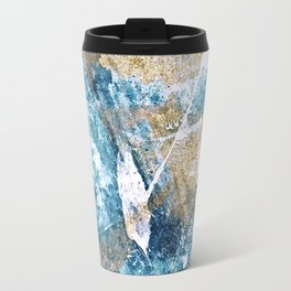 Anticipation [1]: a bright, colorful abstract piece in pink, rose gold, blue, and white Travel Mug