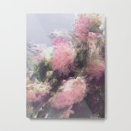 Wild Roses in Motion - Glitch Metal Print