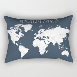 Adventure Awaits World Map in Navy Blue Rectangular Pillow