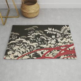 Kuro-tomesode with a Pair of Pheasants in Hiding (Japan, untouched kimono detail) Rug