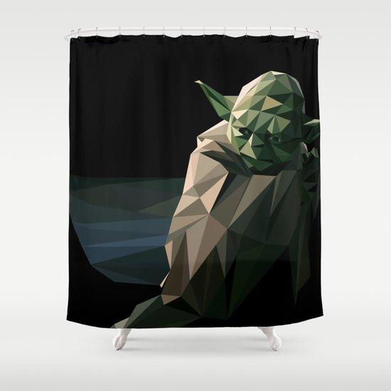 Geometric Yoda Shower Curtain