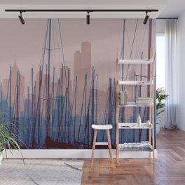 City Harbor Skyline Abstract Wall Mural