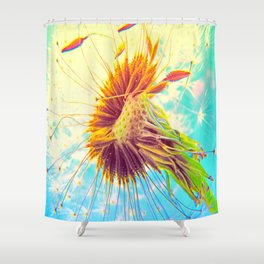 Dandalion explosion Shower Curtain
