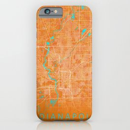 Indianapolis, IN, USA, Gold, Blue, City, Map iPhone Case