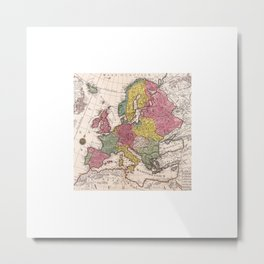 Old Map Europe Metal Print