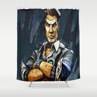 borderlands Shower Curtains featuring Borderlands Handsome Jack by Joe Misrasi