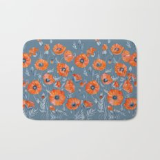 Red poppies in grey Bath Mat