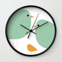 Bird Family in Celadon and Mustard on White. Minimalist Midcentury Scandinavian Wall Clock