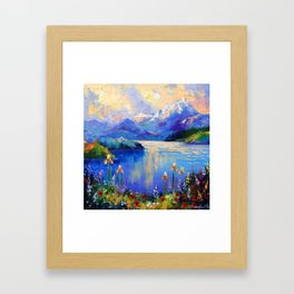 Flowers on the shore of a mountain lake Framed Art Print