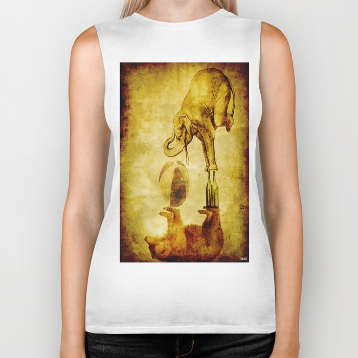 The elephant and the bear have fun Biker Tank