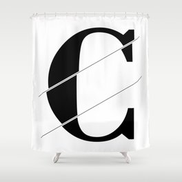 """""""Sliced Collection"""" - Minimal Letter C Print Shower Curtain"""
