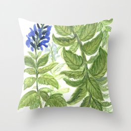 Blue Wildflower Watercolor Throw Pillow